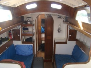 Cabin looking forward - note original kerosene gimbal lamp on the right