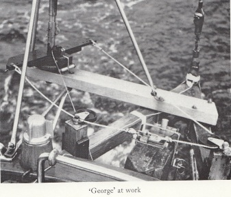 """George"" - the self-steering gear that Peter Woolass made for his bumpkin (instructions in his Blue Book)."
