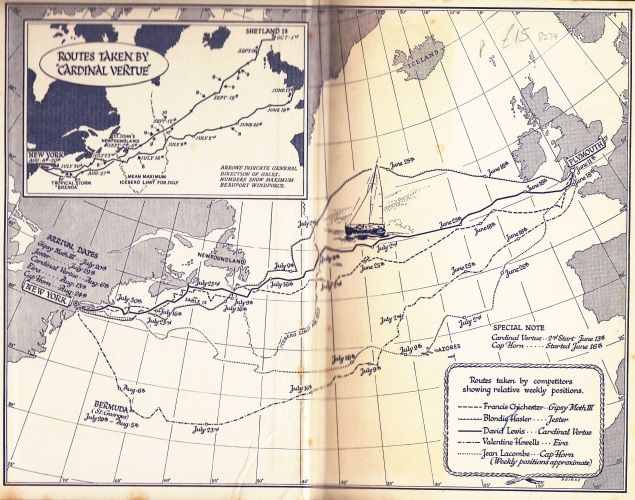 The Routes taken by participants in the inaugural trans-Atlantic Singlehanded Race