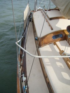Starboard Deck - lots of brightwork for varnishing!