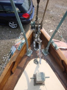 Stemhead showing the highfield lever to release or tension the inner staysail stay.