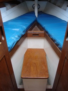 Aft Cabin (the wooden in the middle sometimes contains a heads but, in Drumler has a back-up battery)