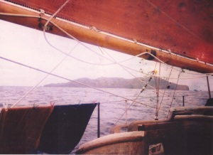 Sighting the Pitcairn Islands, after crossing the Pacific from Equador